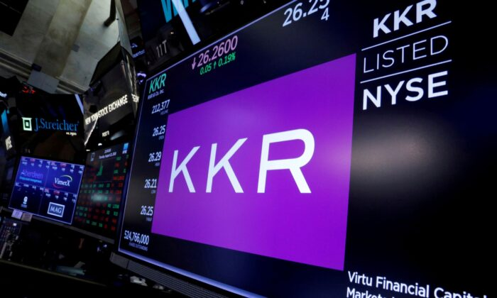 Trading information for KKR & Co is displayed on a screen on the floor of the New York Stock Exchange (NYSE) in New York City, on Aug. 23, 2018. (Brendan McDermid/Reuters)