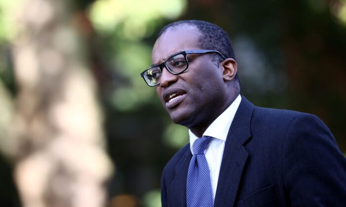Britain's Secretary of State for Business, Energy and Industrial Strategy Kwasi Kwarteng speaks to media in Westminster, London, Britain on Sept. 21, 2021. (Hannah McKay/Reuters)