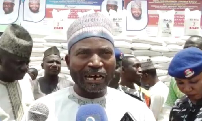 Suleiman Chukuba, executive chairman and chief security officer of the Local Government of Shiroro County, states Boko Haram is gaining control of the county, at a press conference in Minna, Nigeria on Sept. 30, 2021. (Screenshot from video by Matthew Jwantu/The Epoch Times)