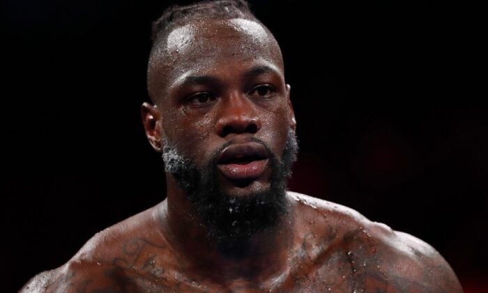 Deontay Wilder during the WBC heavyweight world championship fight at T-Mobile Arena, Las Vegas, Nev., on Oct. 9, 2021. (Steve Marcus/Reuters)