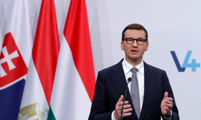 Poland's Prime Minister Mateusz Morawiecki speaks during a news conference in Budapest, Hungary, on Oct. 12, 2021. (Bernadett Szabo/Reuters)