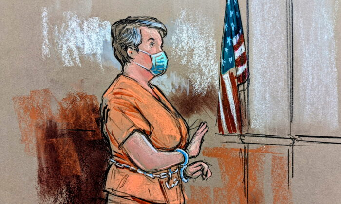 In this courtroom sketch Diana Toebbe appears for her first court hearing on charges that she and her husband, former U.S. Navy engineer Jonathan Toebbe at a courthouse in Martinsburg, W. Va., on Oct. 12, 2021. (Bill Hennessey/Reuters)