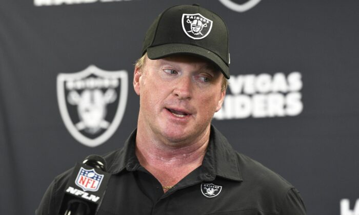 Las Vegas Raiders head coach Jon Gruden meets with the media following an NFL football game against the Pittsburgh Steelers in Pittsburgh on Sept. 19, 2021. (Don Wright/AP Photo)