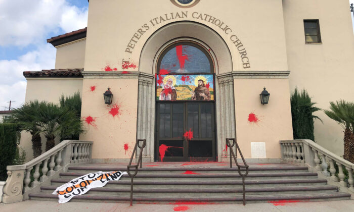 St. Peter's Italian Church on the edge of Chinatown in Los Angeles was vandalized, on Oct. 11, 2021. (Hayley Smith/Los Angeles Pezou/TNS)