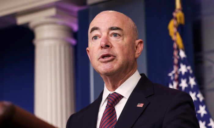 U.S. Secretary of Homeland Security Alejandro Mayorkas speaks to reporters in Washington in a file photograph. (Evelyn Hockstein/Reuters)