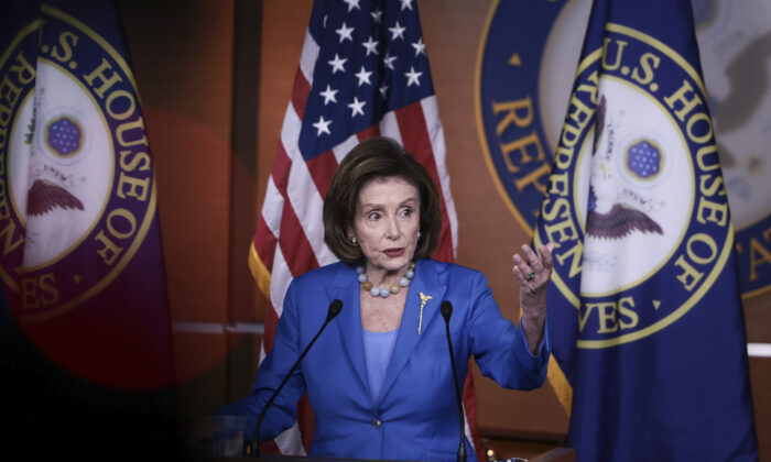 House Speaker Nancy Pelosi (D-Calif.) speaks at a news conference at the U.S. Capitol in Washington, on Oct. 12, 2021. (Anna Moneymaker/Getty Images)
