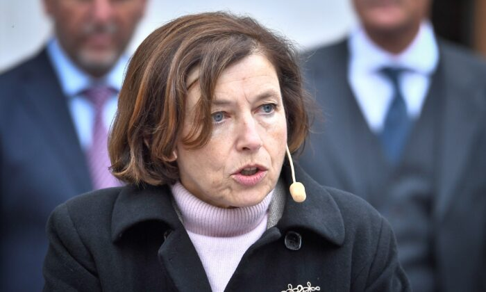 French Defense Minister Florence Parli spoke at a press conference at Carlberg Castle in Stockholm, Sweden, on September 24, 2021.  (Claudio Bresiani / TT News Agency, via Reuters)