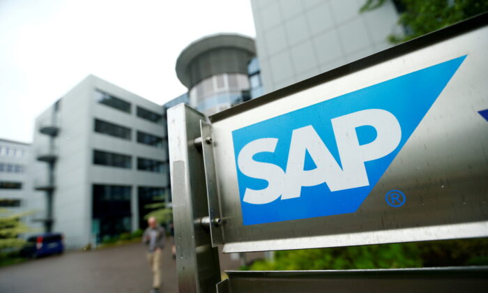 The logo of German software group SAP is pictured at its headquarters in Walldorf, Germany, on May 12, 2016. (Ralph Orlowski/Reuters)