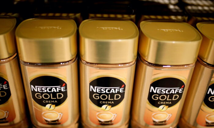 Jars of Nescafe Gold coffee by Nestle are pictured in the supermarket of Nestle headquarters in Vevey, Switzerland, on Feb. 13, 2020. (Pierre Albouy/Reuters)