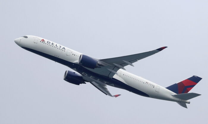 A Delta Air Lines Airbus A350-900 plane takes off from Sydney Airport in Sydney, Australia, on Oct. 28, 2020. (Loren Elliott/Reuters)
