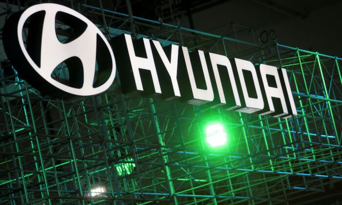 Hyundai logo is seen during Munich Auto Show, IAA Mobility 2021 in Munich, Germany, on Sept. 8, 2021. (Wolfgang Rattay/Reuters)