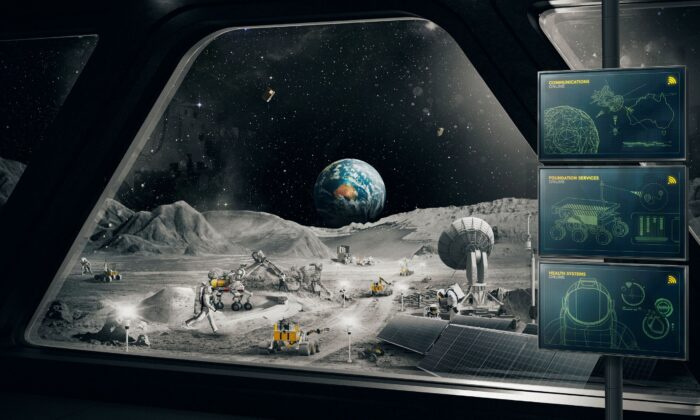 In this undated image, an imagined scene on the moon is depicted. (Australian Space Agency via AP)