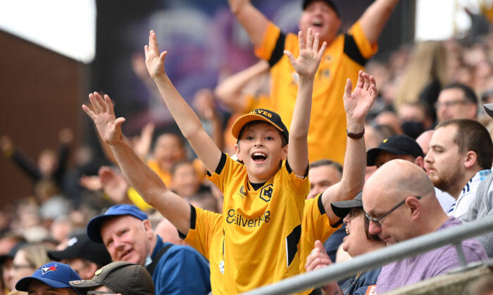 Fans of Wolverhampton Wanderers look on during the Premier League match between Wolverhampton Wanderers and Manchester United at Molineux, in Wolverhampton, England, on Aug. 29, 2021. (Michael Regan/Getty Images)