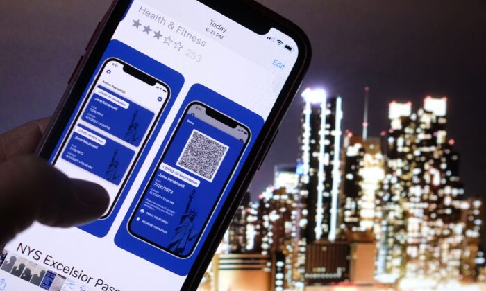 This illustration photo taken in Los Angeles on April 6, 2021, shows a person looking at the app for the New York State Excelsior Pass, which provides secure, digital proof of a COVID-19 vaccination, in front of a screen showing the New York skyline. (Chris Delmas/AFP via Getty Images)