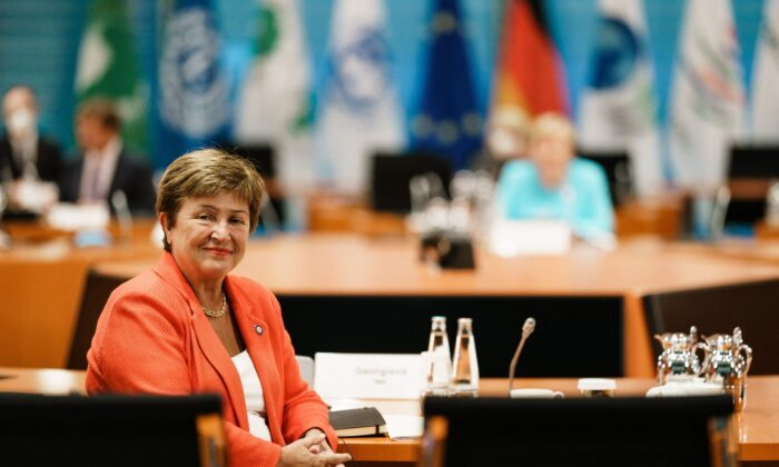 Managing Director of the International Monetary Fund (IMF) Kristalina Georgieva poses for photographers during a meeting at the German chancellery in Berlin, Germany, on Aug. 26, 2021. (Clemens Bilan/Pool/AFP via Getty Images)