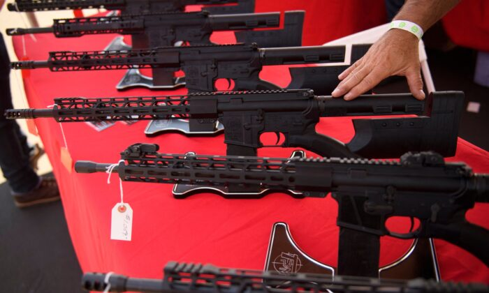 A California-legal AR-15 style rifle is displayed for sale at the Crossroads of the West Gun Show at the Orange County Fairgrounds in Costa Mesa, Calif., on June 5, 2021. (Patrick T. Fallon/AFP via Getty Images)