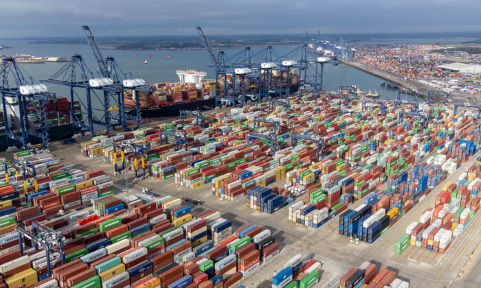 Thousands of shipping containers at the Port of Felixstowe in Suffolk, England, on Oct. 13, 2021. (Joe Giddens/PA)