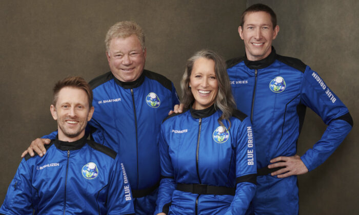 (L-R) Chris Boshuizen, William Shatner, Audrey Powers, and Glen de Vries in an undated photo made available by Blue Origin in October 2021. (Blue Origin via AP)