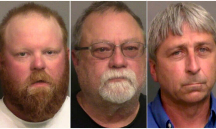 """This combination of booking photos provided by the Glynn County, Ga., Detention Center, shows, from left, Travis McMichael, his father, Gregory McMichael, and William """"Roddie"""" Bryan Jr.. (Glynn County Detention Center via AP, File)"""