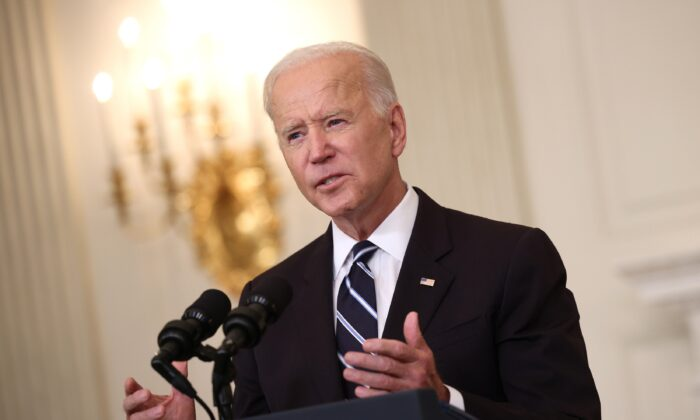 President Joe Biden speaks at the White House in Washington, D.C., on Sept. 9, 2021. (Kevin Dietsch/Getty Images)