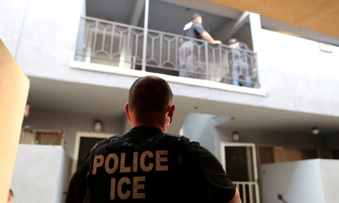 A U.S. Immigration and Customs Enforcement agent in Hawthorne, California, on March 1, 2020. (Lucy Nicholson/Reuters)