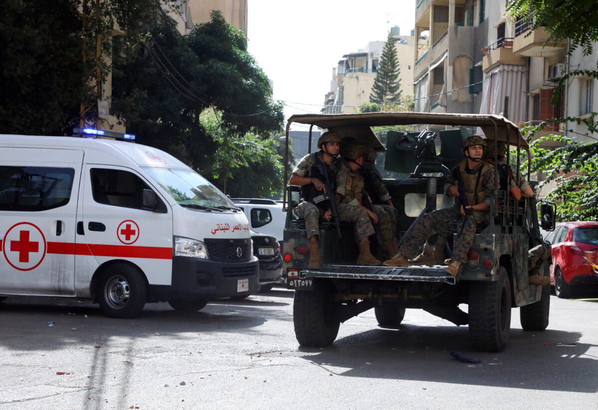Lebanese Red Cross vehicle is pictured as army soldiers are deployed in Beirut