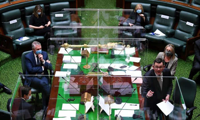 Victorian Premier Daniel Andrews (right) speaks during question time in the Legislative Assembly at the Parliament of Victoria in Melbourne, Australia, on Sept. 7, 2021. (AAP Image/James Ross)