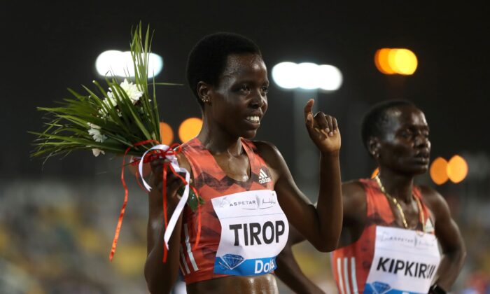 Kenya's Agnes Jebet Tirop celebrates after finishing second in the women's 3000m at Diamond League-Doha-Qatar Sports Club in Doha, Qatar, on May 4, 2018. (Ibraheem Al Omari/Reuters)