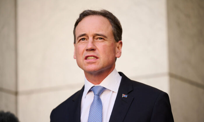 Australian Health Minister Greg Hunt at Parliament House in Canberra, Australia, on Aug. 23, 2021. (Rohan Thomson/Getty Images)