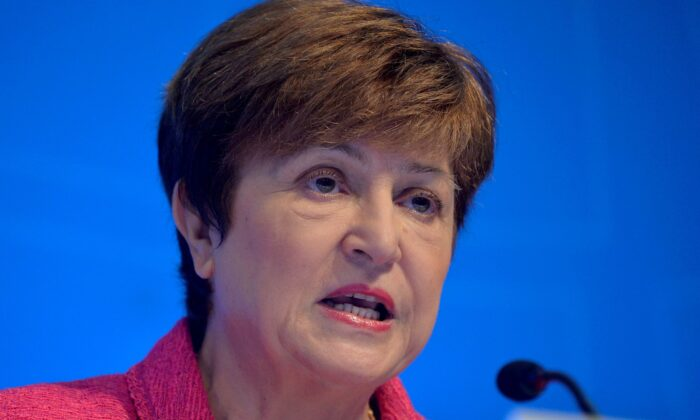 International Monetary Fund (IMF) Managing Director Kristalina Georgieva makes remarks at an opening news conference during the IMF and World Bank's 2019 Annual Fall Meetings of finance ministers and bank governors, in Wash., on Oct. 17, 2019. (Mike Theiler/Reuters)