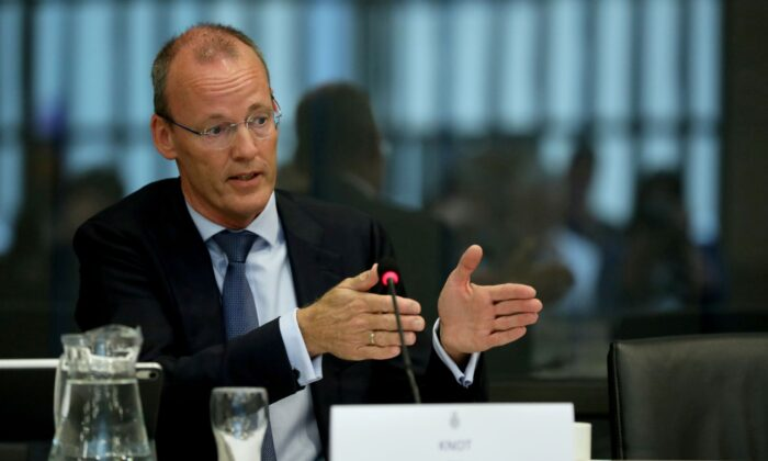 ECB board member Klaas Knot appears at a Dutch parliamentary hearing in The Hague, Netherlands on Sept. 23, 2019. (Eva Plevier/Reuters)