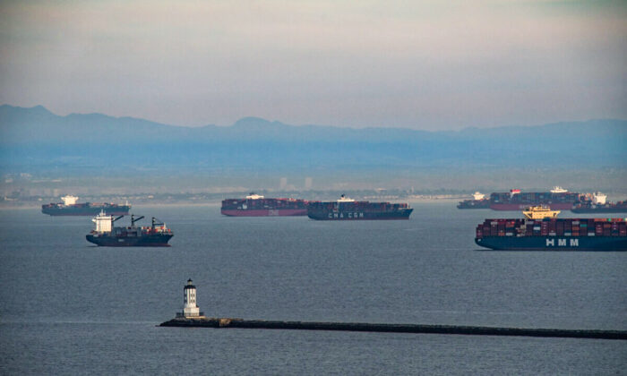 Ships wait to be offloaded at the ports of Los Angeles and Long Beach on Jan. 12, 2021. (John Fredricks/The Epoch Times)