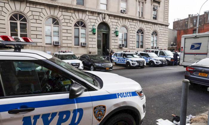 New York police cars are seen in New York City on Jan. 14, 2021. (Spencer Platt/Getty Images)