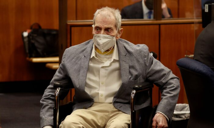 Robert Durst in his wheelchair as he appears in an Inglewood courtroom with his attorneys for closing arguments presented by the prosecution in the murder trial in Inglewood, Calif., on Sept. 8, 2021. (Al Seib - Pool/Getty Images)