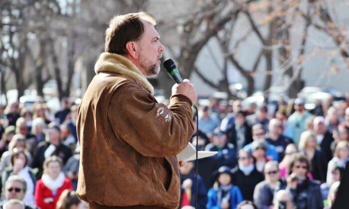 """Artur Pawlowski speaks at a """"freedom rally"""" in Edmonton on March 20, 2021, as part of a global protest against COVID-19 restrictions. (Courtesy of Artur Pawlowski)"""