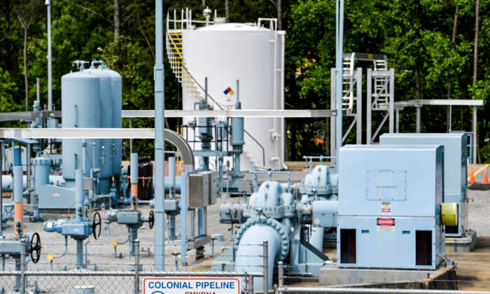 A Colonial Pipeline station is seen in Smyrna, Ga., on May 11, 2021. (Mike Stewart/AP Photo) <br />