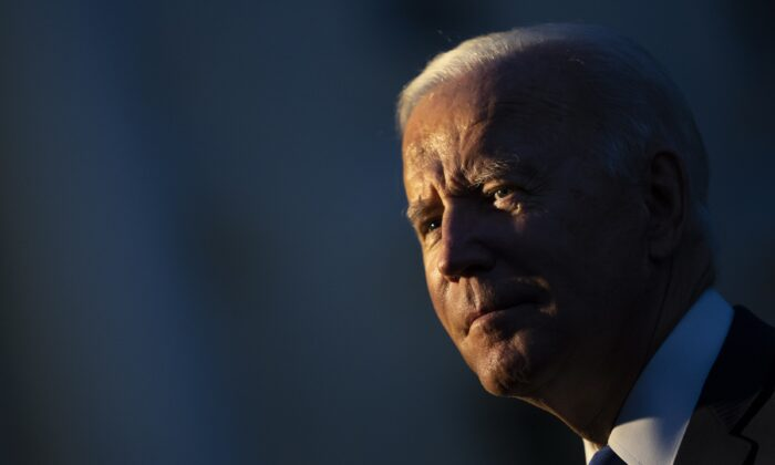 President Joe Biden speaks to reporters as he arrives on the South Lawn of the White House in Washington on Oct. 15, 2021. (Drew Angerer/Getty Images)
