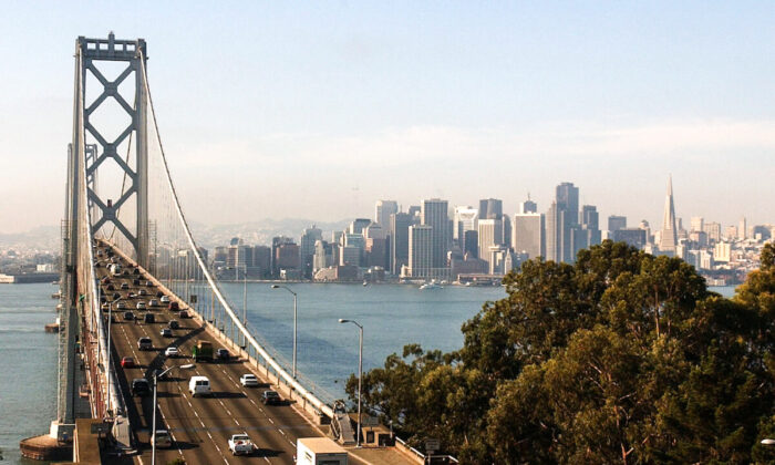 The western span of the San Francisco Bay Bridge and San Francisco skyline seen on Nov. 2, 2001. (Justin Sullivan/Getty Images)
