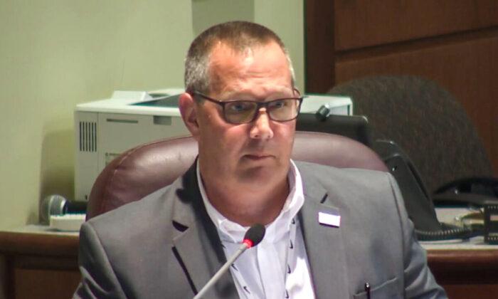 Loudoun County Superintendent Scott Ziegler is seen during a school board meeting in Ashburg, Va., on June 22, 2021. (LCPS/Screenshot via The Epoch Times)