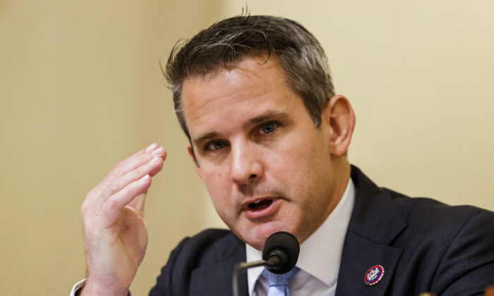 U.S. Representative Adam Kinzinger (R-Ill.) speaks during the opening hearing of the U.S. House (Select) Committee investigating the Jan. 6 attack on the U.S. Capitol on July 27, 2021 at the Cannon House Office Building in Washington. Members of law enforcement testified about the attack by supporters of former President Donald Trump on the U.S. Capitol. According to authorities, about 140 police officers were injured when they were trampled, had objects thrown at them, and sprayed with chemical irritants during the insurrection. (Photo by Jim Bourg-Pool/Getty Images)