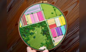 Autistic Artist Creates 3D Embroideries That Look Like Aerial, Textile 'Snapshots' of England