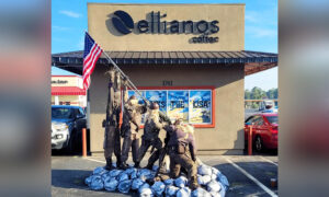 Coffee Shop Owner Builds Scarecrow Iwo Jima Flag-Raising Tableau for Festive Tribute to Military
