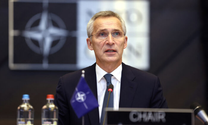 NATO Secretary General, Jens Stoltenberg attends at the start of the round table during the Meeting of NATO Ministers of Defence in Brussels, on Oct. 21, 2021. (Kenzo Tribouillard/AFP via Getty Images)
