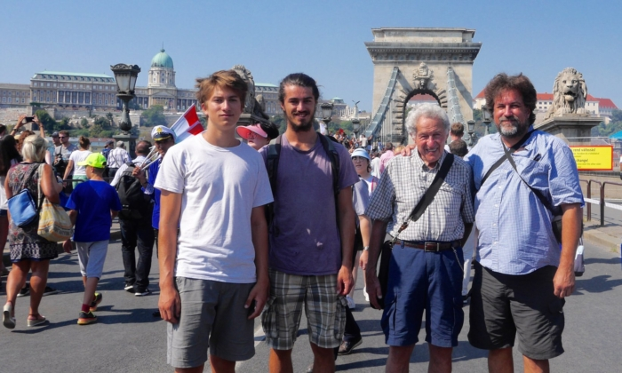 Andy Dobo (second from right) in Hungary on a recent trip there. Dobo, now 85, worked for the Communist-run telephone company in Budapest during the 1956 Hungarian Revolution when he was 20 years old. He was among the workers who unplugged the phone lines to disrupt the communications of the Russians calling in at that time. Dobo is pictured with his son, Ken (far right), and two grandsons. (Photo courtesy Andy Dobo)