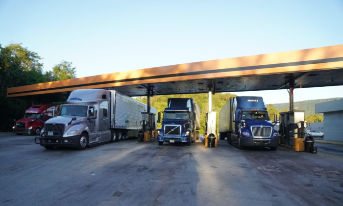 Trucks fill up on gas at the One9 truck stop in Wildwood, Georgia on Oct. 20, 2021. (Jackson Elliott/The Epoch Times)