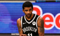 Demonstrators Supporting Nets' Kyrie Irving's Vaccine Refusal Gather at NYC's Barclays Center