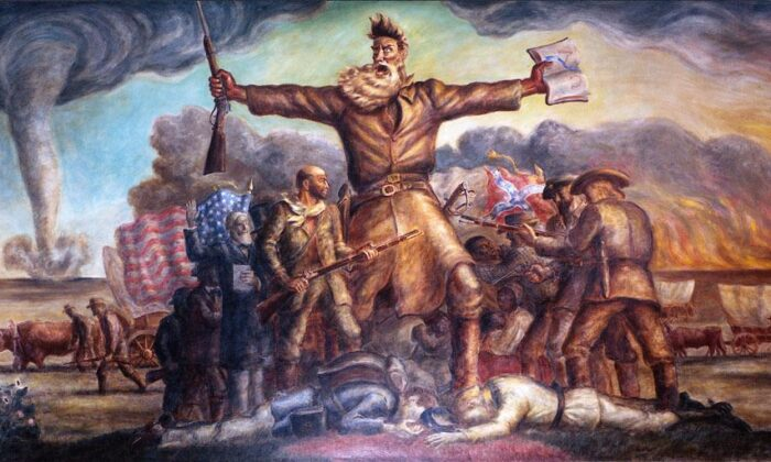 """""""Tragic Prelude"""" is a 31-foot-by-11-foot-by-6-inch mural by John Steuart Curry, in 1937, for the Kansas State Capitol in Topeka, Kansas. """"I wanted to paint him as a fanatic, for John Brown was a fanatic. He had the wild zeal of the extremist, the fanatic for his cause—and we had the Civil War, with its untold misery,"""" Curry said in a 1939 newspaper interview. (Public Domain)"""