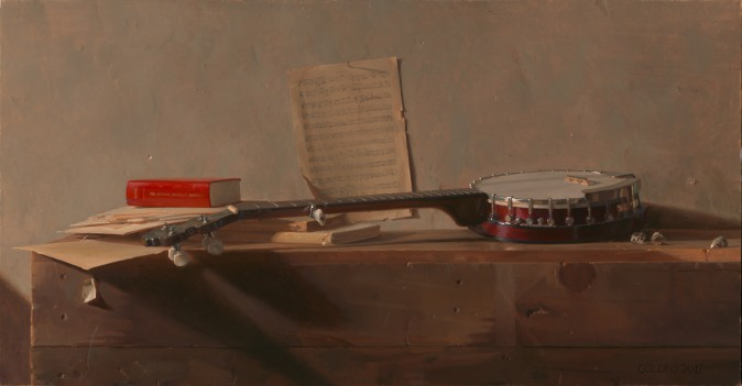 """Banjo,"" 2012, by Jacob Collins. Oil on Canvas, 26 inches by 50 inches. (Courtesy of Jacob Collins)"
