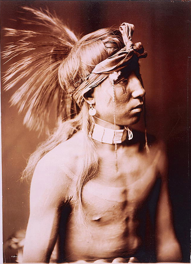 Shows As He Goes, half-length portrait, c1905. (Edward S. Curtis/Library of Congress)