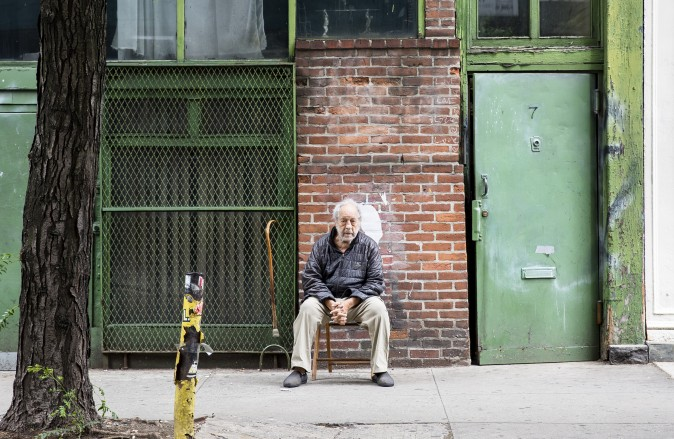 Robert Frank sits outside of his home in New York City on June 8, 2017 (Samira Bouaou/The Epoch Times)